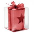 szklany czerwony świecznik, art.14MB20